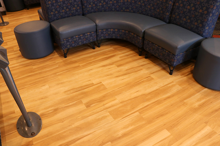 New Flooring in the Seating Area Behind the Lanes